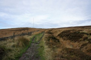 On the track up Winter Hill